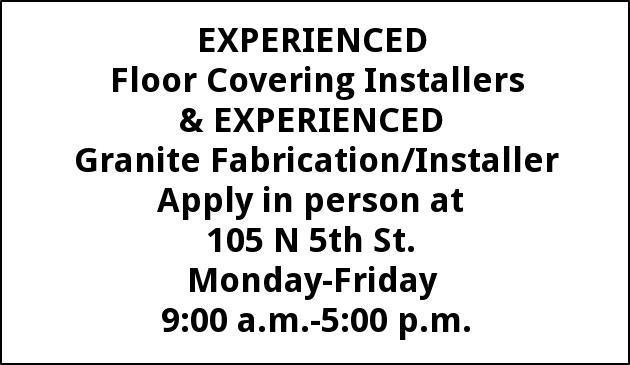 experienced floor covering installers