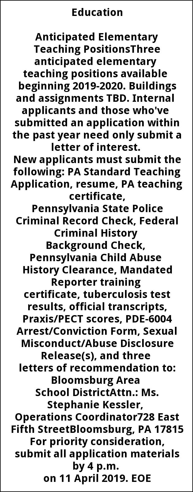 Anticipated Elementary Teaching Positions, Bloomsburg Area