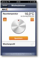 Steuerung in iOS-App: Temperatur-Regler