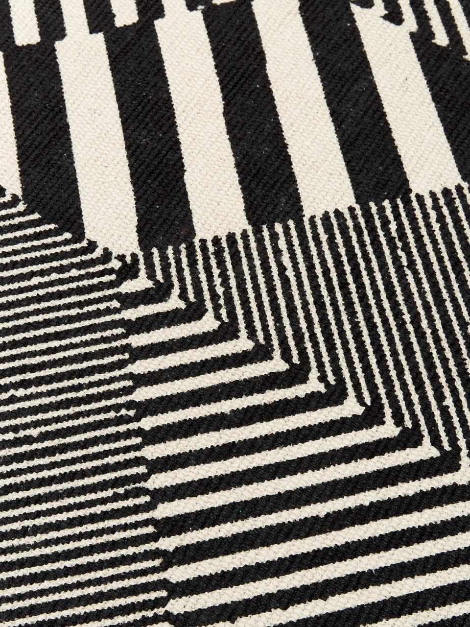 tapis graphique noir et blanc beely