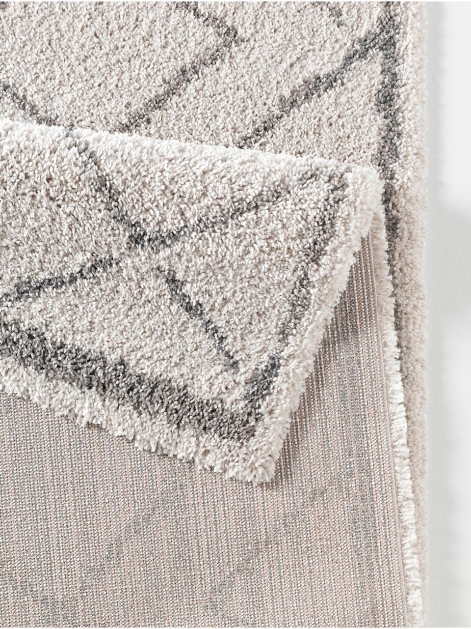 tapis poils longs gris creme grace diamond