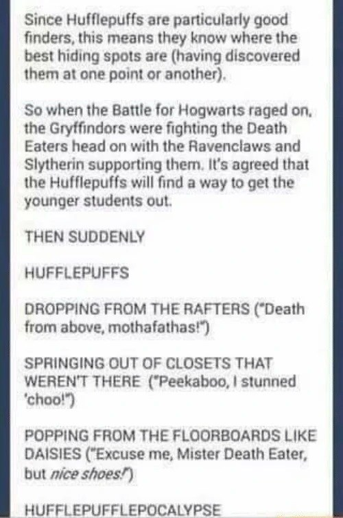 Hufflepuffs Are Particularly Good Finders : hufflepuffs, particularly, finders, Great, Fandom