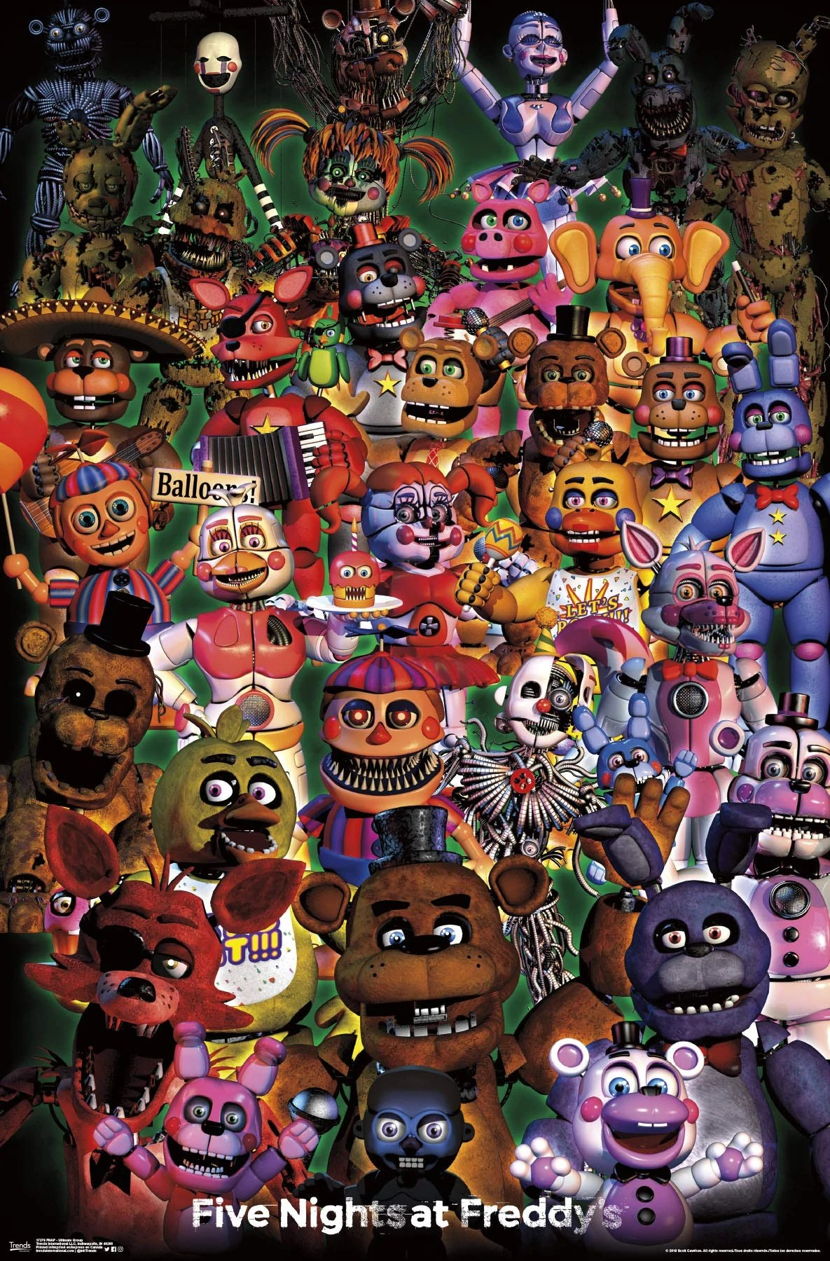 All Five Nights At Freddy's Characters (UPDATED!) - YouTube