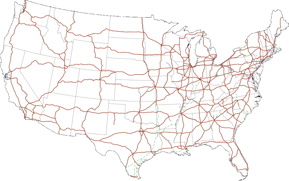It highlights all 50 states and capital cities, including the nation's capital city of washington, dc. Interstate Highway System Intertropolis Routeville Wiki Fandom