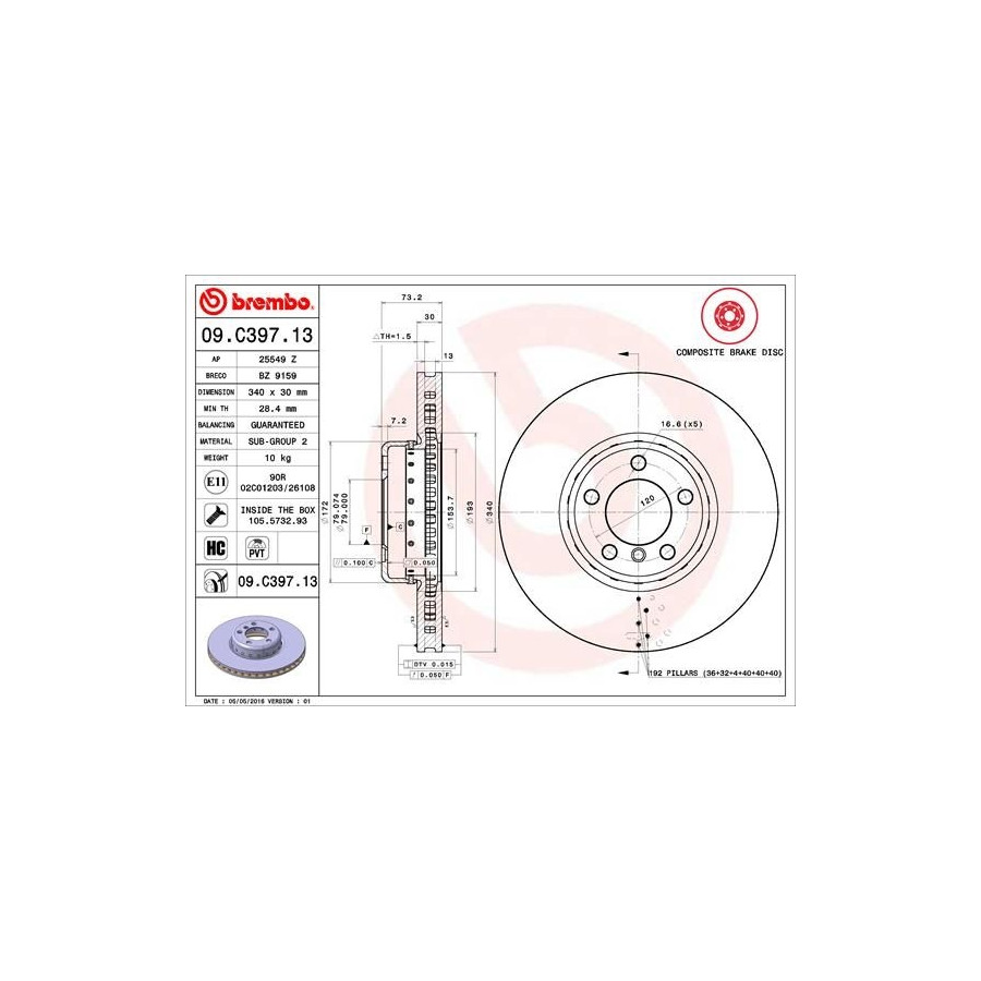 Brake Disc TWO-PIECE DISCS LINE 09.C397.13 Brembo