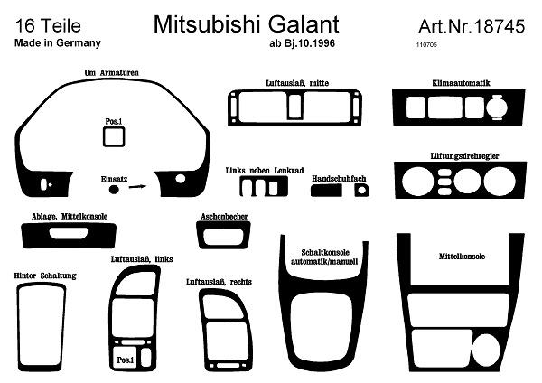 Prewoodec Interior set Mitsubishi Galant 12 / 1996- 16