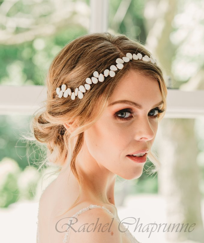 mother of pearl bridal hair vine