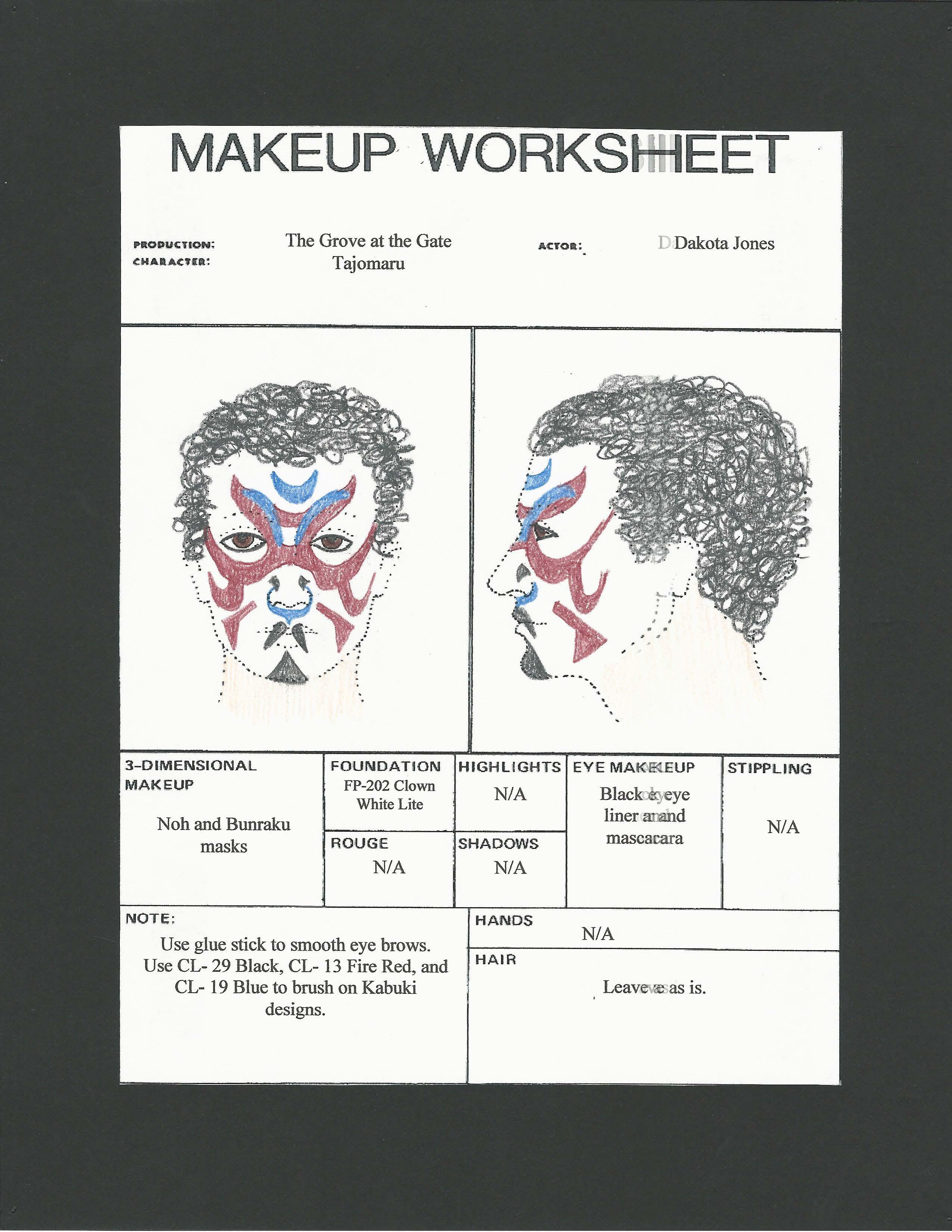 Hair Makeup Worksheet