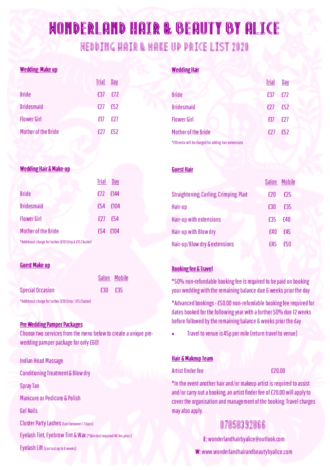 price lists & guides | wonderland hair & beauty by alice