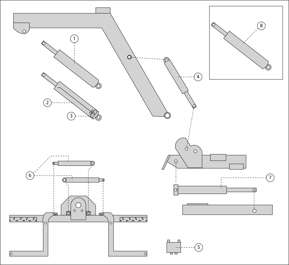 medium resolution of  hydraulic parts diagram 1 passenger side up down cylinder 2 driver side up down cylinder 3 sun valve 4 fold cylinder 5 jaws lock valve 6