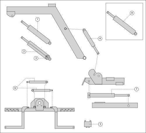 small resolution of  hydraulic parts diagram 1 passenger side up down cylinder 2 driver side up down cylinder 3 sun valve 4 fold cylinder 5 jaws lock valve 6