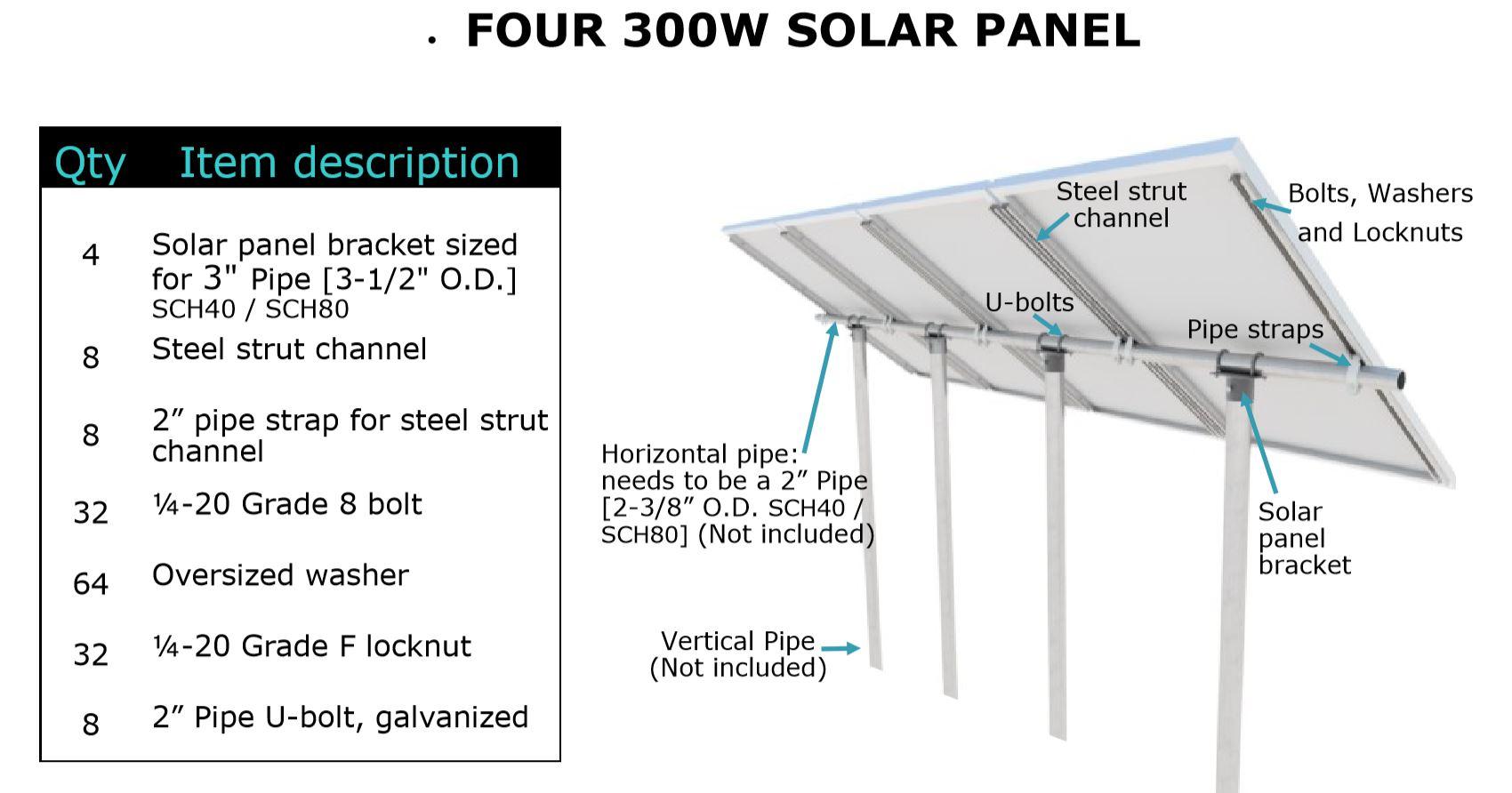 Usa Heavy Duty Pipe Tube 1 4 Steel Solar Panel Pv Mount