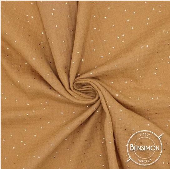 double gaze coton a pois dores camel x 50cm tissus bensimon