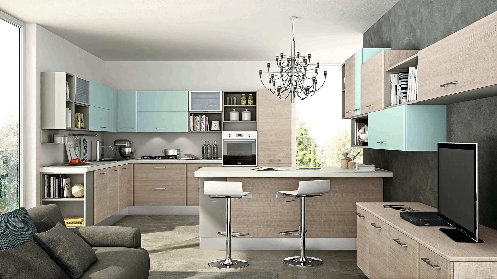 Cucine In Muratura Moderne Colorate LW85  Regardsdefemmes