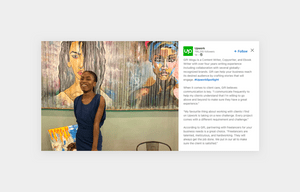 upwork social media content post of an interview with a woman