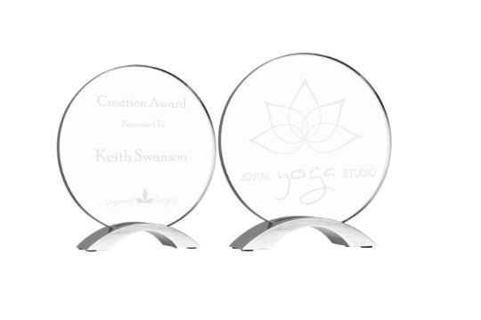 Round Cosmic Glass Award, Custom Engraved, Professional