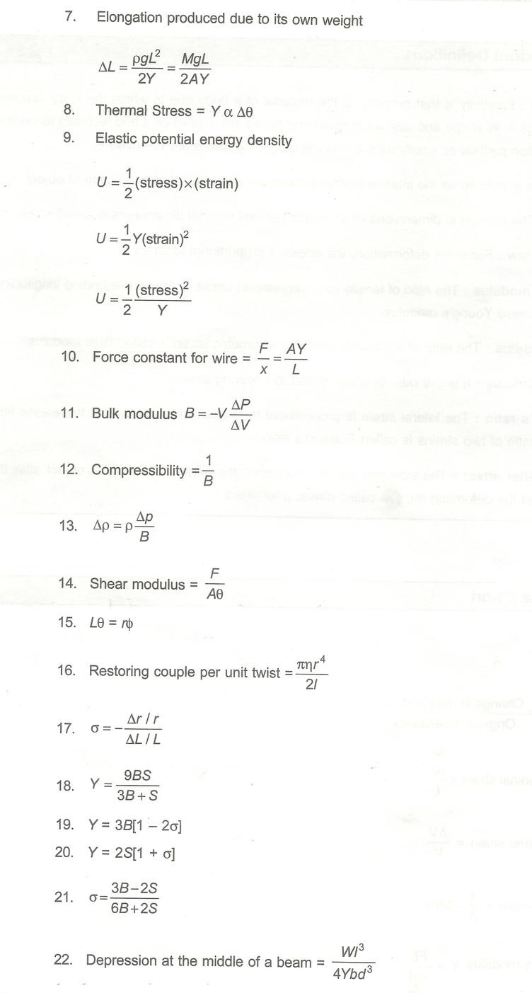 Class 11 Mechanical properties of Solids Important formulas