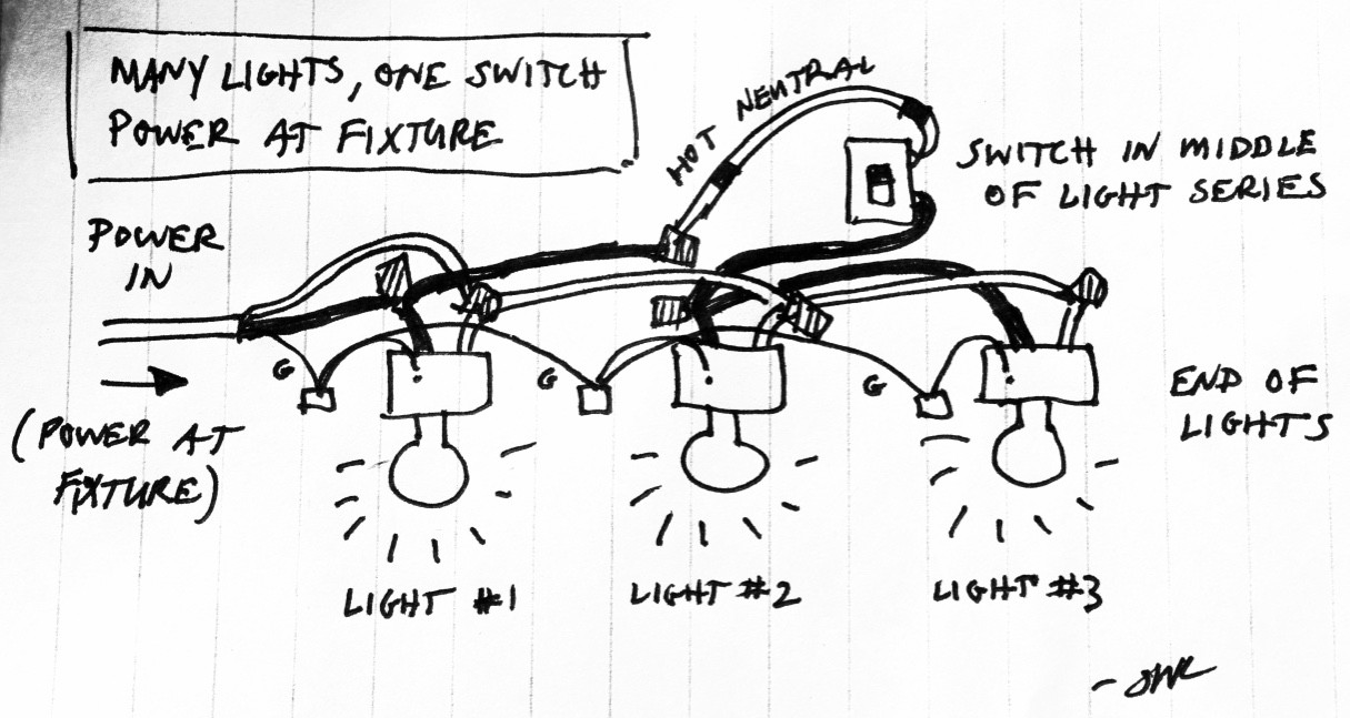 Many Lights, One Switch, Power at Fixture