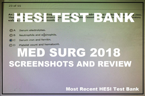 Hesi Med Surg Rn Test Bank 2018 Screenshots And Review