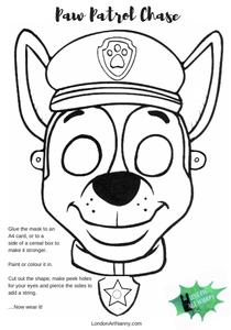 Paw Patrol Chase Free Face Mask Printable Pdf