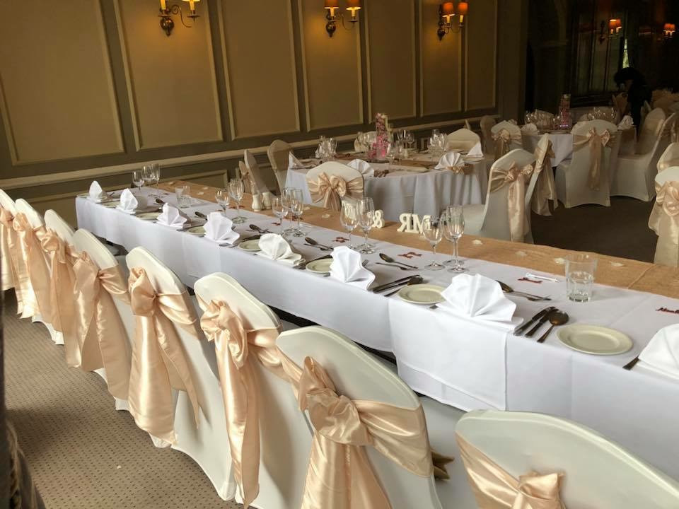 wedding chair covers east midlands stair lift chairs cover hire loughborough notts leics derby weddings champagne taffeta sashes rothley court