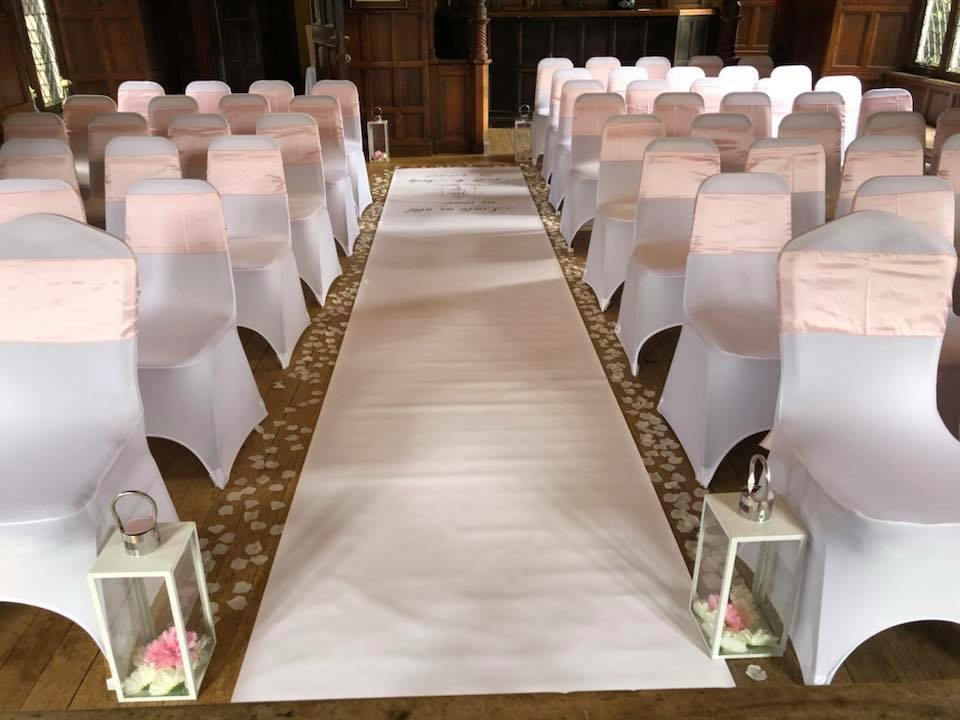 wedding chair covers east midlands recliners that look like regular chairs cover hire loughborough notts leics derby weddings pink sashes aisle lanterns scatter petals rothley court