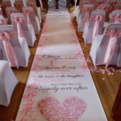Wedding Chair Covers East Midlands White Cross Back Chairs Personalised Aisle Runner With Pink Sashes And Weddings Events