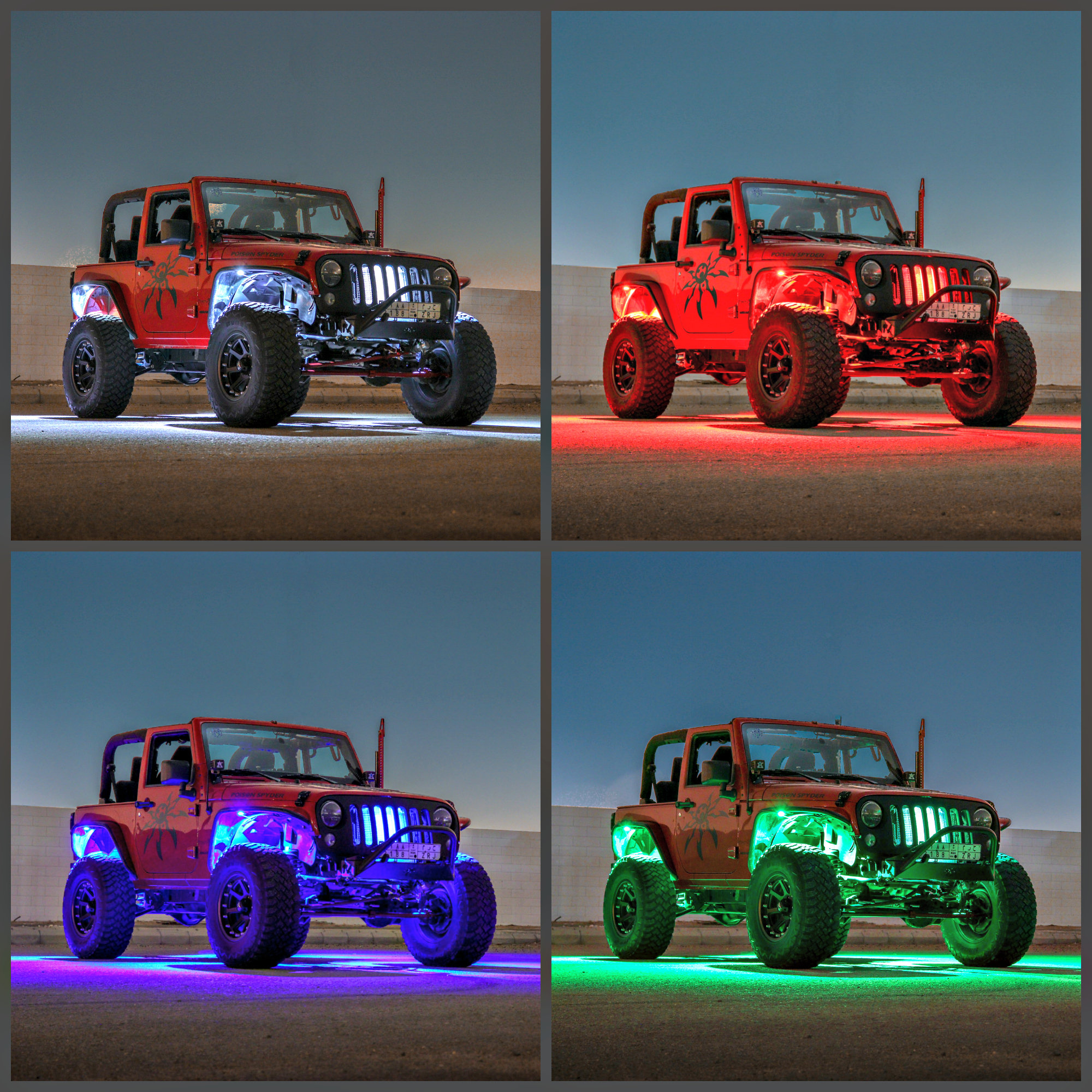 hight resolution of  truck jeep rgb w color change rock light kit