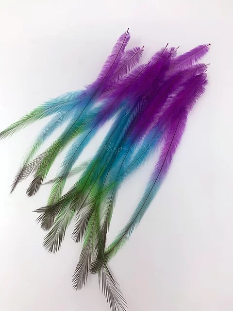 Cruelty Free Hair Feathers Craft Feathers Rainbow Pink Green Blue 12pcs Feather Extensions