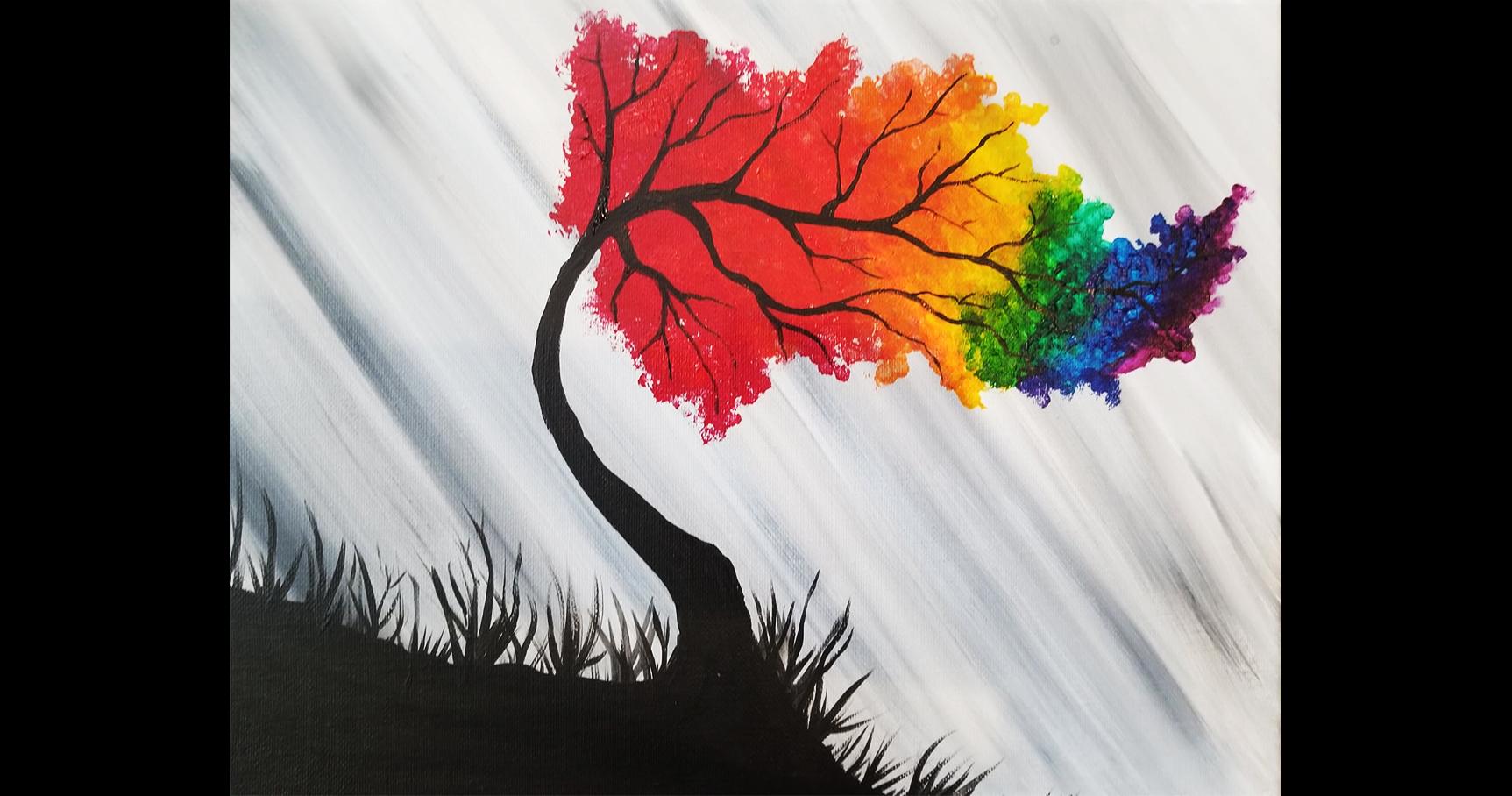 rainbow willow tree painting