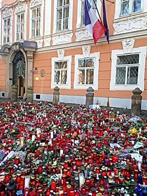 prague, french embassy, pray for paris