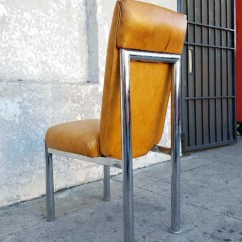 Leather Chrome Chair Teak Dining Chairs Uk Butterscotch Faux Vintage As Found 17 L 22 1 2 W35 3 4 H 18