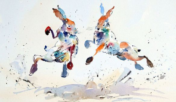 Jake Winkle is a prominent English watercolourist who specialises in light and movement. He is known for his paintings depicting animals and wildlife from overseas and nearer to home, as well as his famous watercolours of horse racing scenes.