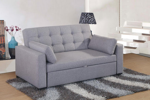 Grey Fabric Two Seater Pull Out Sofa Bed Elechome