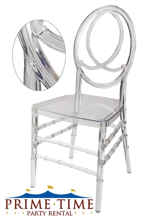chair rentals phoenix elastic seat covers clear acrylic these arcylic chairs feature and infinity design on the back are a fantastic choice for any dining event favorite among corporate