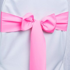 Neon Pink Chair Cheap White Poly Sash