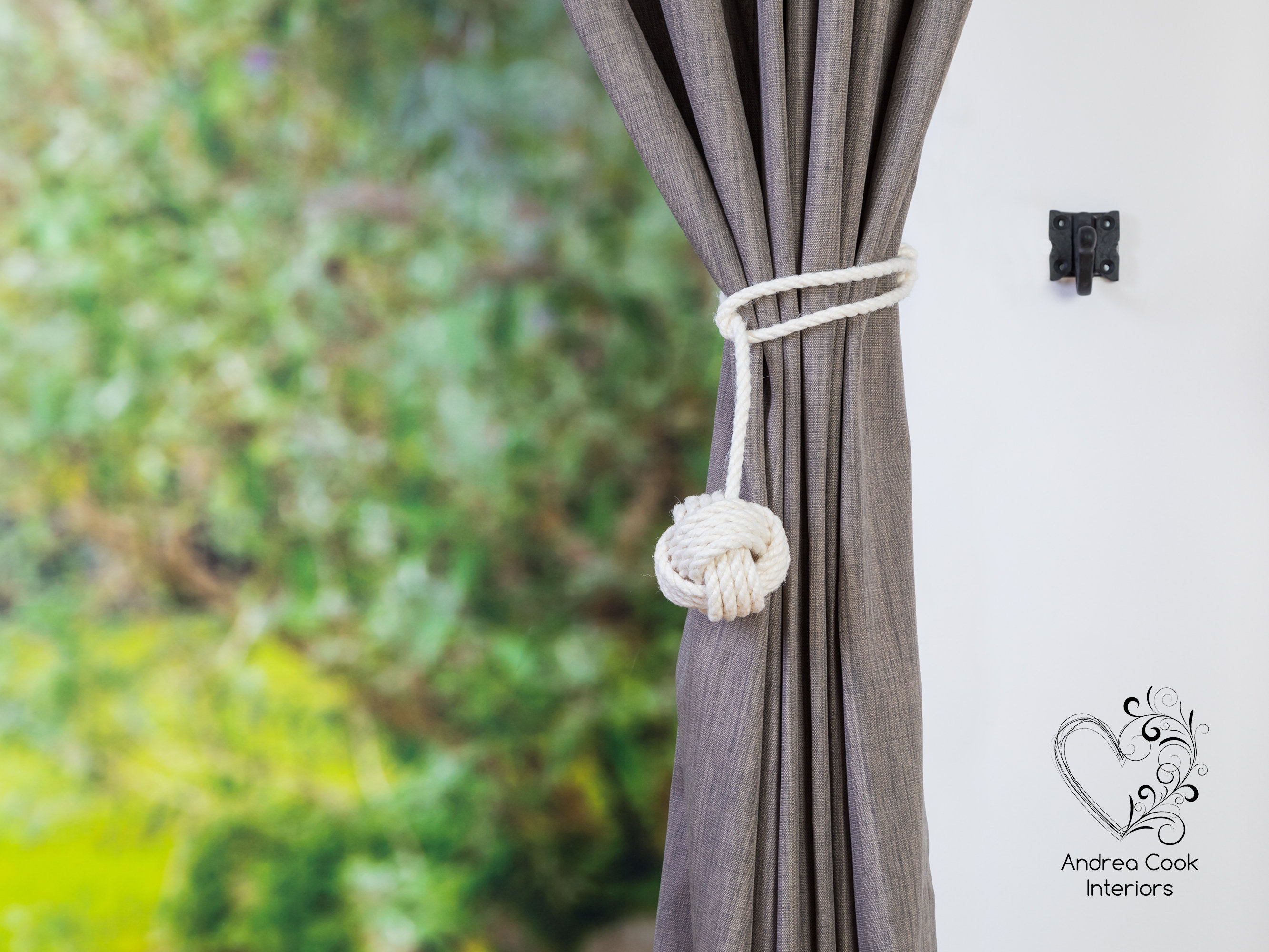 small ivory white spliced monkey fist curtain tiebacks tie back hold back andrea cook interior