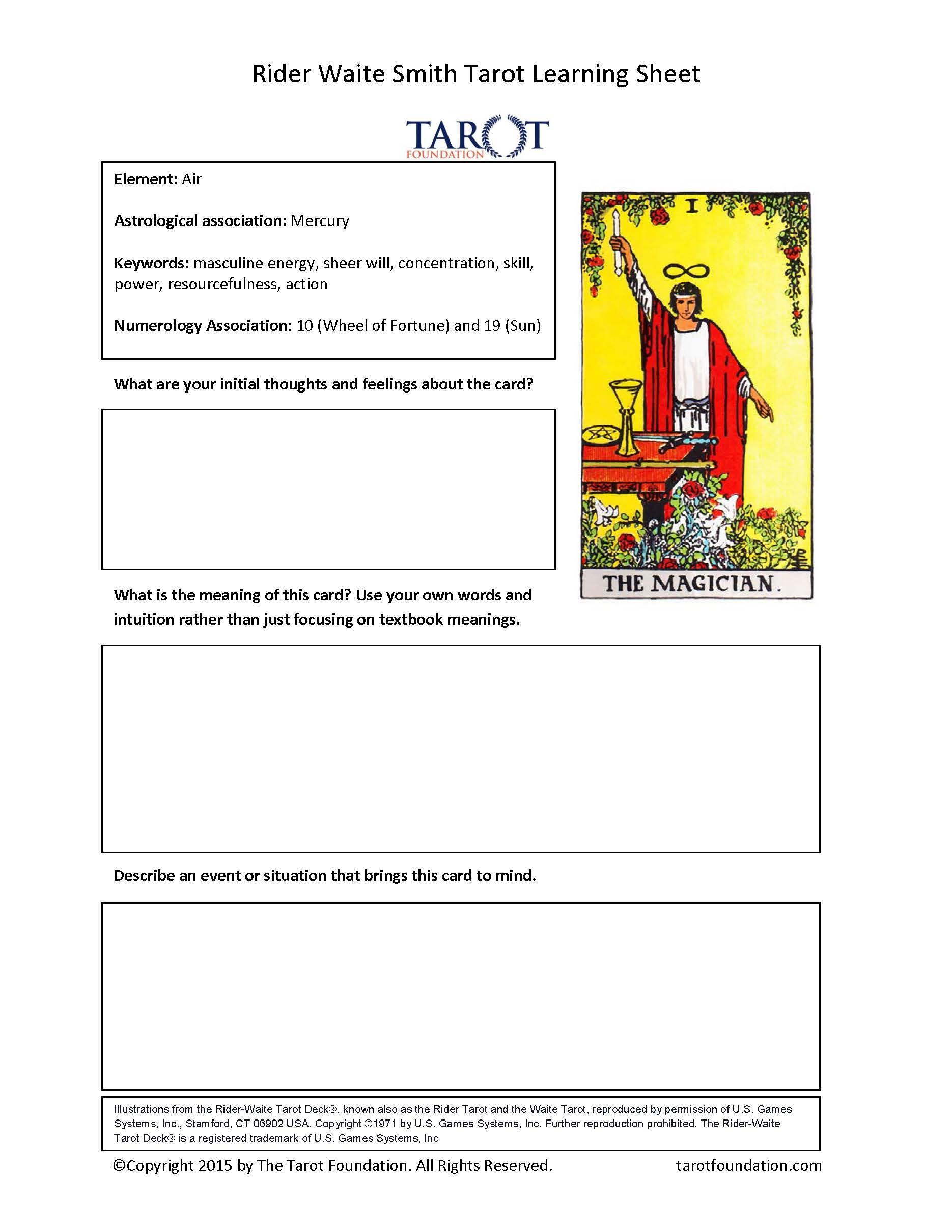 Major Arcana Journal Sheets