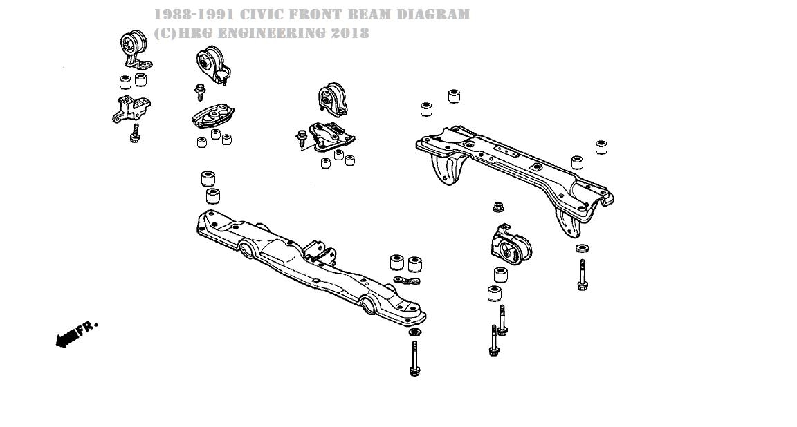 Subframe Kit for 88-91 Civic (not wagon)