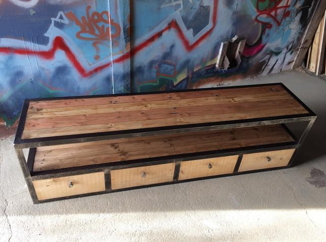 meuble tv industriel metal bois palette