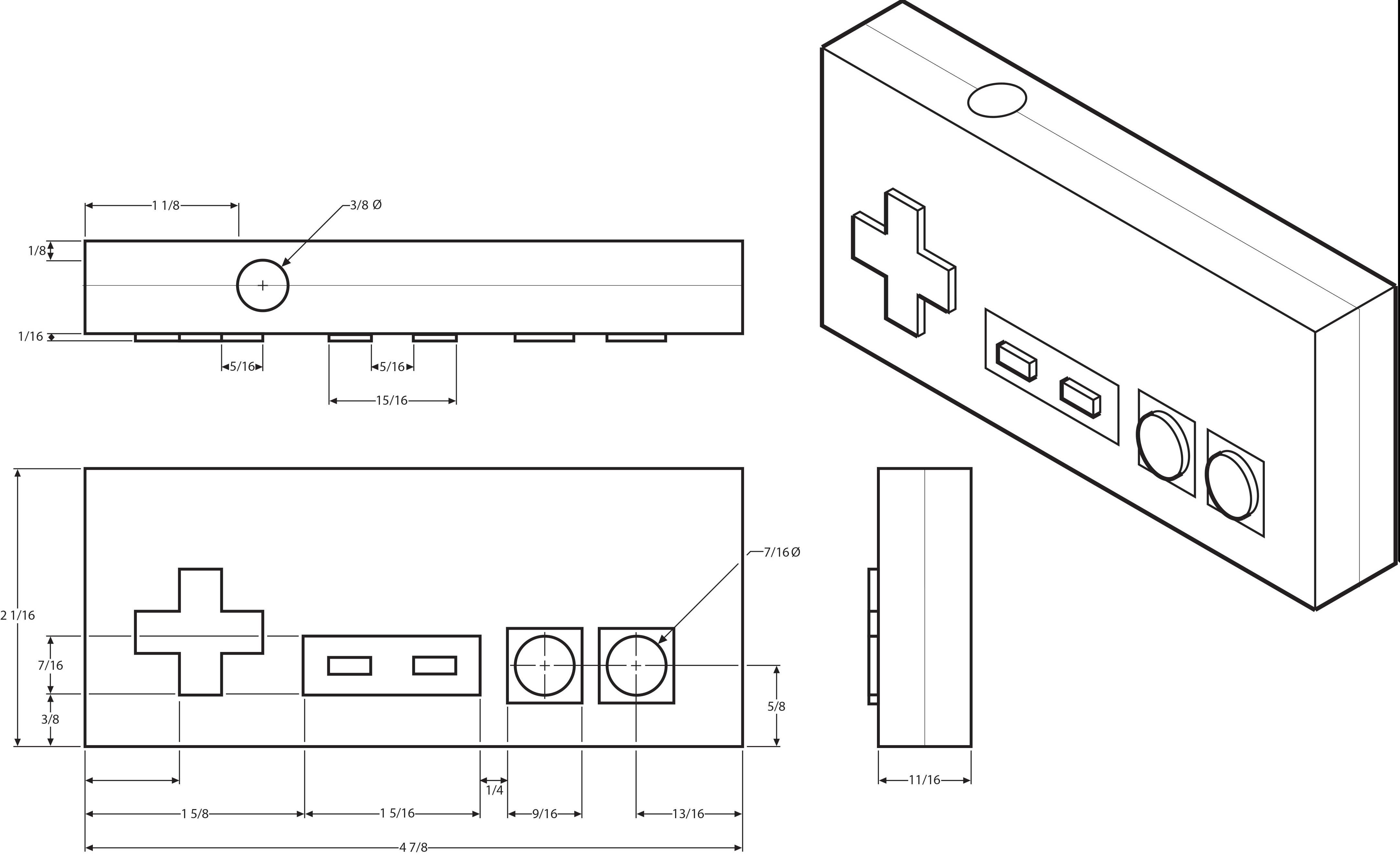 Nes Controller Drawing Sketch Coloring Page