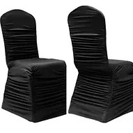 black ruched chair covers grey accent chairs wedding spandex banquet alberta cover