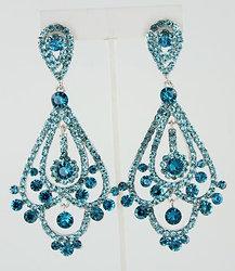 Long Teal Chandelier Earrings