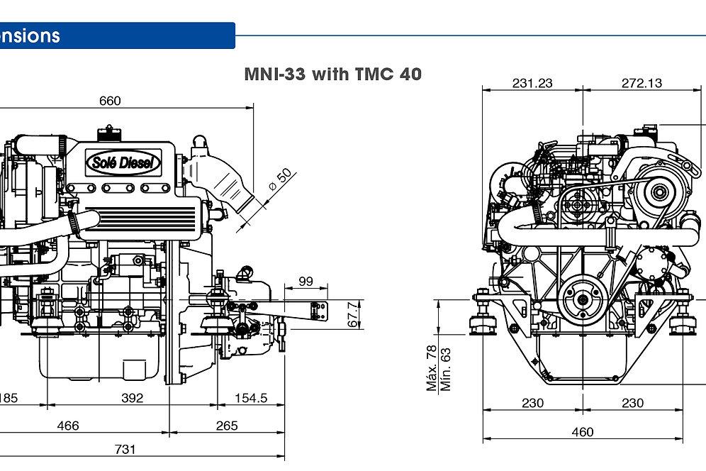 Solé Diesel MINI-33 merimoottori, marinmotor, marine