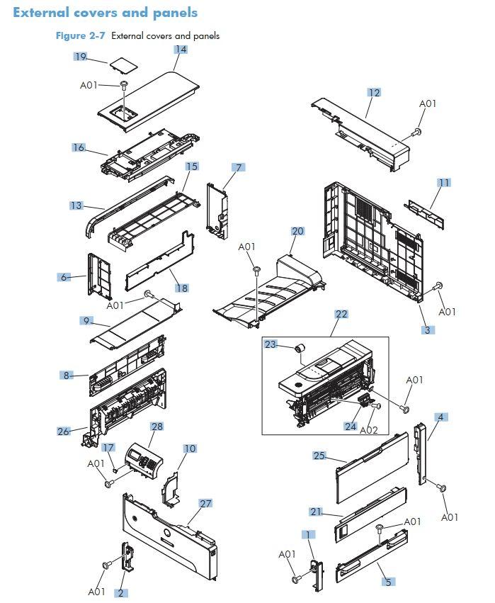 HP M712 Laser Printer Parts Diagrams