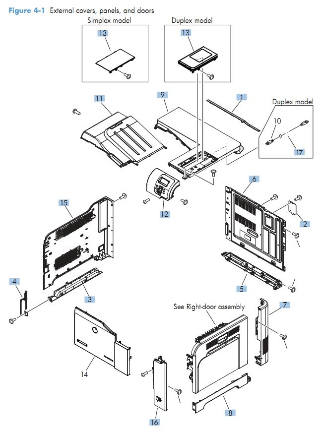 HP M551 Laser Printer Part Diagrams