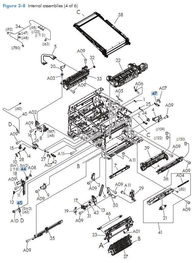 HP M570 Laser Printer Part Diagrams