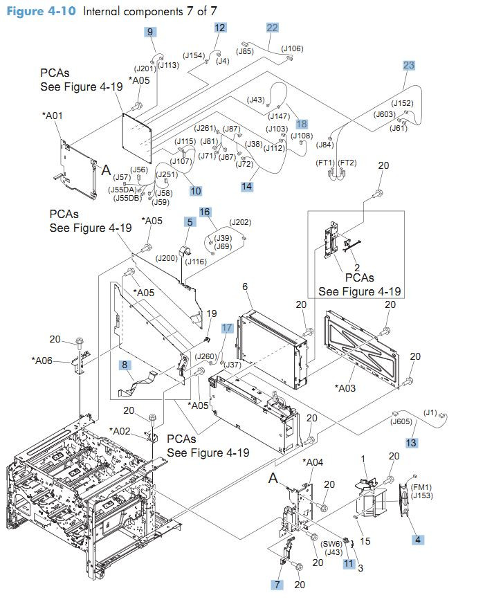 HP CM4540 Laser Printer Part Diagrams
