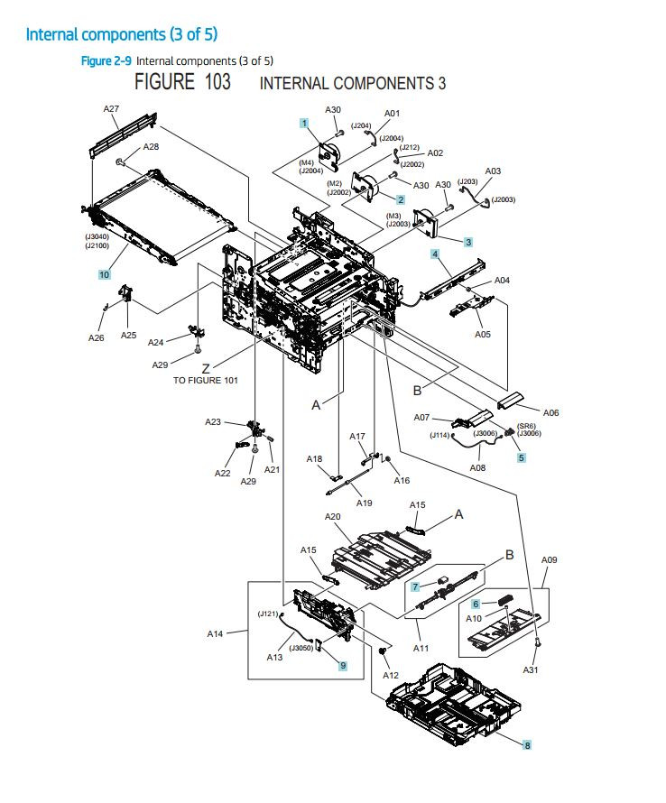 HP Color Laser M454 M479 Printer Part Diagram