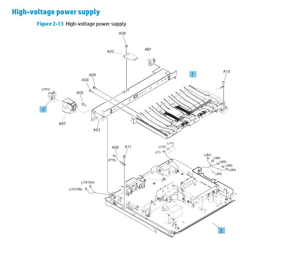 HP M630 LaserJet Enterprise MFP Printer Part Diagrams